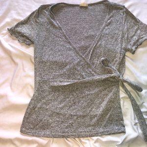 Cute Gray Side Tie Shirt